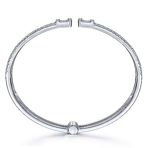 18K White Gold Open Cuff Bracelet with Baguette and Round Diamonds