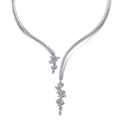 18K White Gold Open Diamond Cluster Collar Necklace