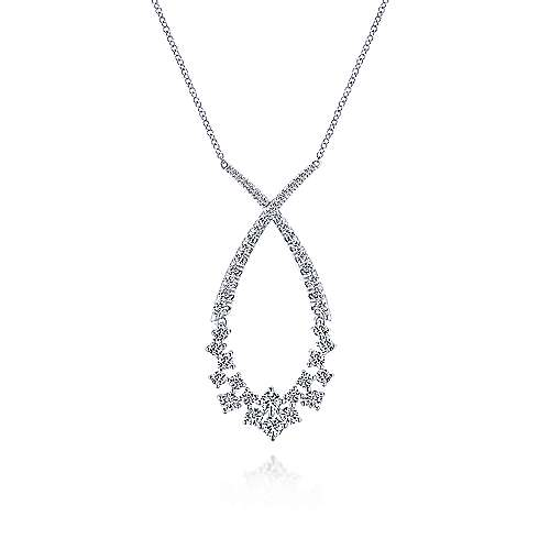 18K White Gold Open Diamond Cluster Teardrop Pendant Necklace