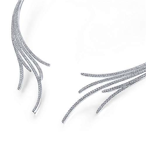 18K White Gold Open Multi Row Diamond Statement Necklace