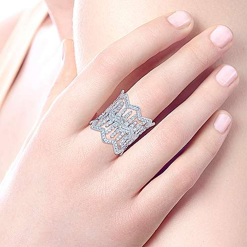 18K White Gold Open Work Diamond Statement Ring