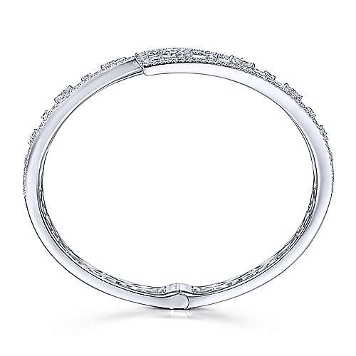 18K White Gold Pavé Diamond Bangle with Geometric Diamond Stations