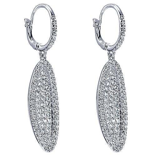 18K White Gold Pavé Diamond Oval Drop Earrings