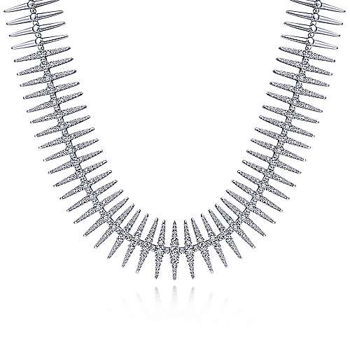 18K White Gold Pavé Diamond Spike Statement Necklace