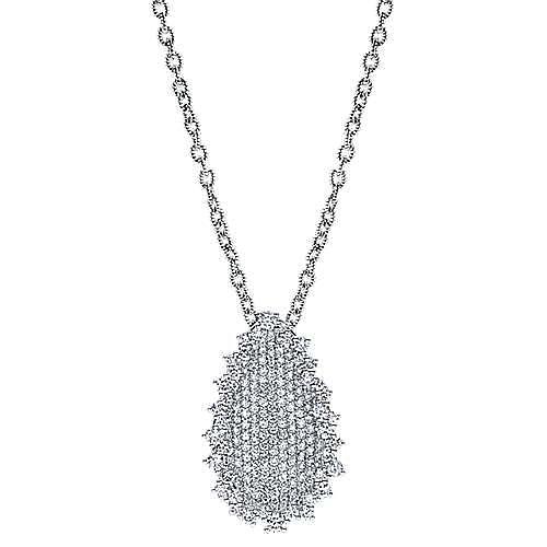 18K White Gold Pavé Diamond Teardrop Pendant Necklace