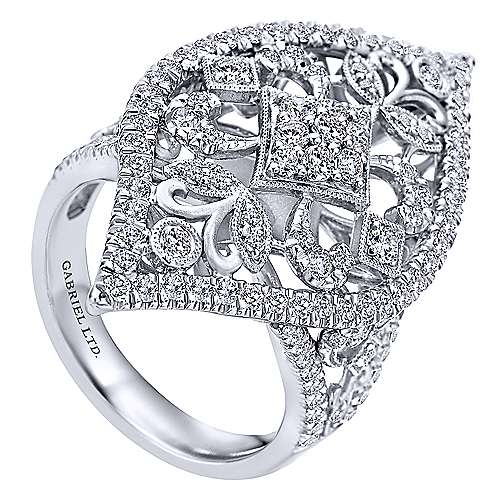 18K White Gold Pointed Oval Openwork Diamond Statement Ring