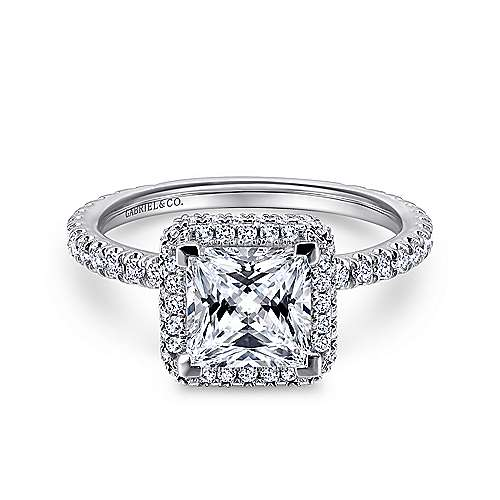 18K White Gold Princess Cut Diamond Engagement Ring