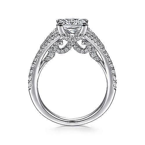 18K White Gold Princess Cut Split Shank Diamond Engagement Ring