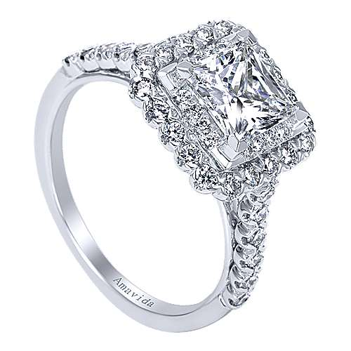 18K White Gold Princess Double Halo Diamond Engagement Ring