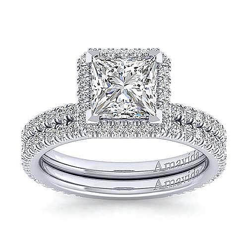 18K White Gold Princess Halo Diamond Engagement Ring