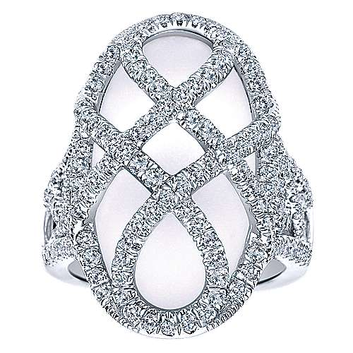 18K White Gold Ring with Oval Rock Crystal and Criss Crossing Diamond Rows Overlay