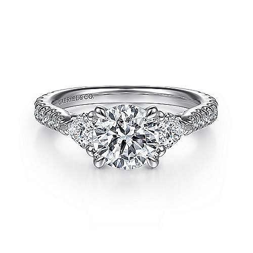 18K White Gold Round 3 Stone Diamond Engagement Ring