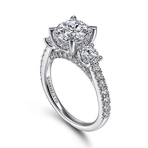 18K White Gold Round 3 Stone Diamond Engagement Ring