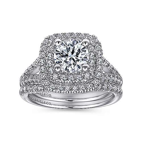 18K White Gold Round Double Halo Diamond Engagement Ring