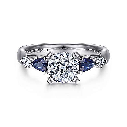 18K White Gold Round Five Stone Sapphire and Diamond Engagement Ring