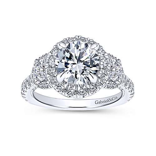 18K White Gold Round Halo Diamond Engagement Ring