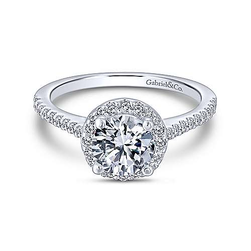 Gabriel - 18K White Gold Round Halo Diamond Engagement Ring