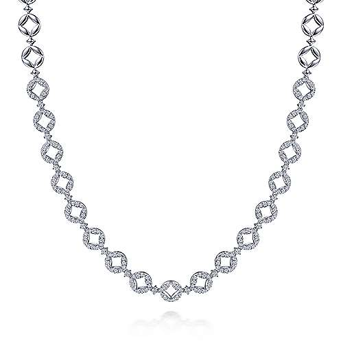 18K White Gold Round Link Diamond Necklace
