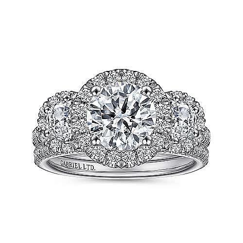 18K White Gold Round Three Stone Halo Diamond Engagement Ring