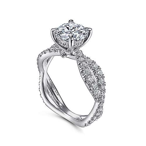 18K White Gold Round Twisted Engagement Ring
