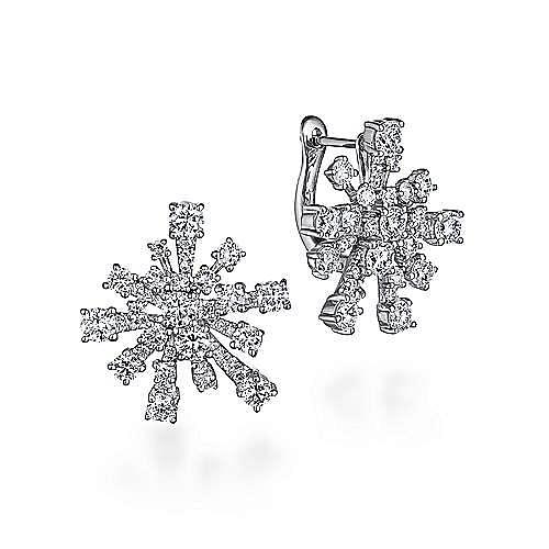 18K White Gold Snow 20mm Diamond Huggie Earrings