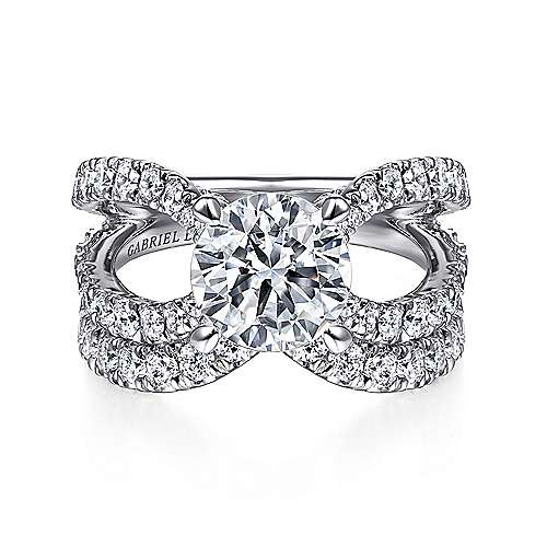 18K White Gold Split Shank Round Diamond Engagement Ring