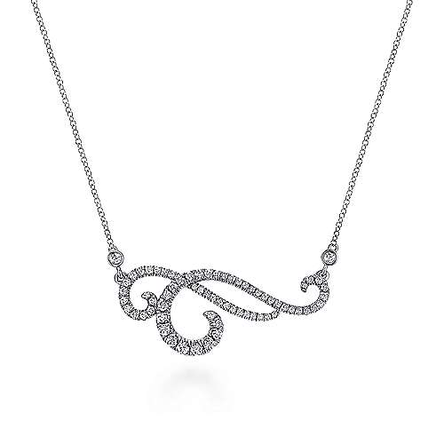 18K White Gold Swirly Diamond Pendant Necklace