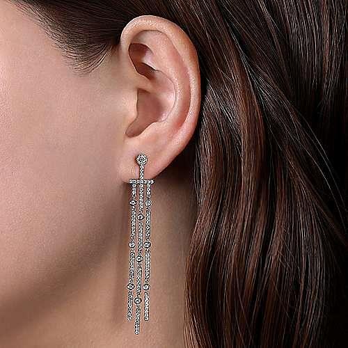 18K White Gold Three Row Linear Drop Diamond Stud Earrings