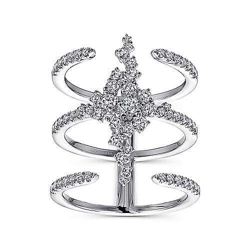18K White Gold Three Row Open Ring with Pavé Diamond Cluster Center