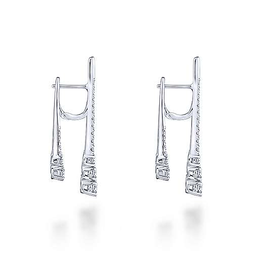 18K White Gold Three Row Tapered Diamond Front Back Drop Earrings