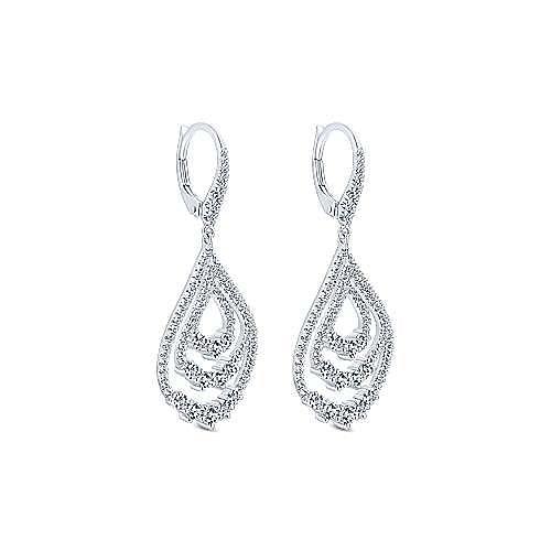 18K White Gold Triple Teardrop Diamond Drop Earrings