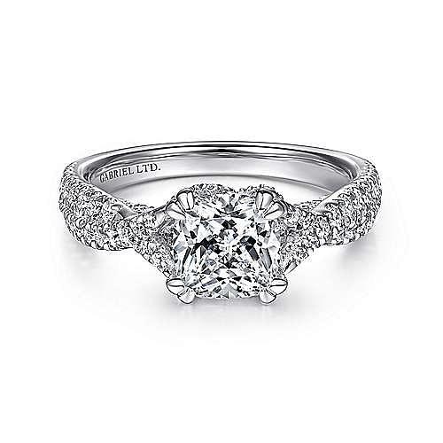 18K White Gold Twisted Cushion Cut Diamond Engagement Ring