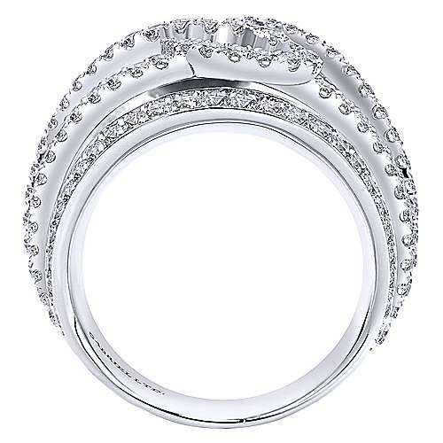 18K White Gold Twisted Diamond Overlay Statement Ring