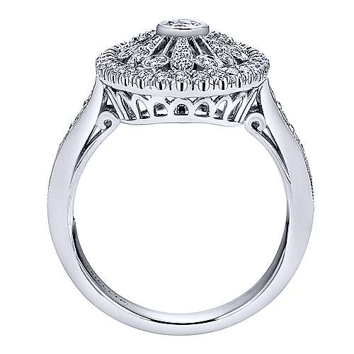 18K White Gold Vintage Inspired Oval Openwork Diamond Ring