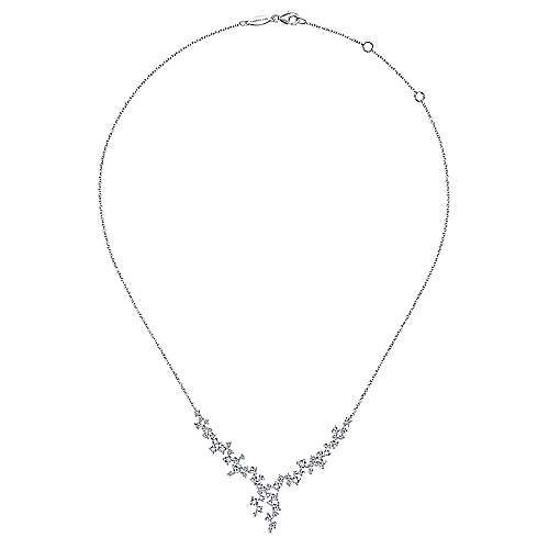 18K White Gold Waterfall Lariat Diamond Cluster Necklace