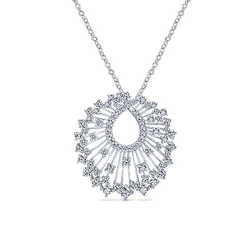 18K White Gold Waterfall Swirl Diamond Pendant Necklace