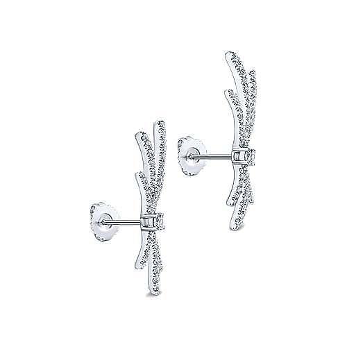 18K White Gold Whimsical Diamond Fan Stud Earrings