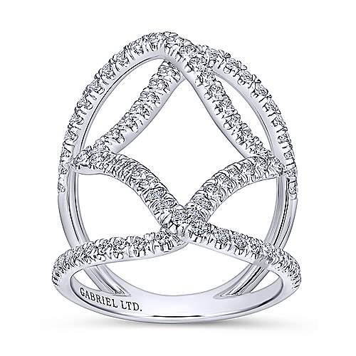 18K White Gold Wide Band Diamond Cage Ring