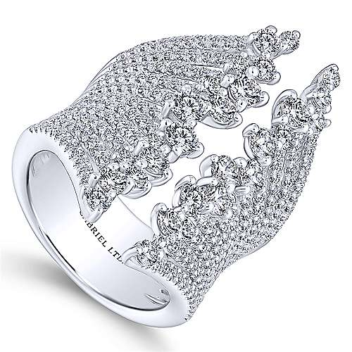 18K White Gold Wide Band Open Diamond Statement Ring