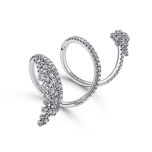 18K White Gold Wide Diamond Cluster Statement Wrap Ring