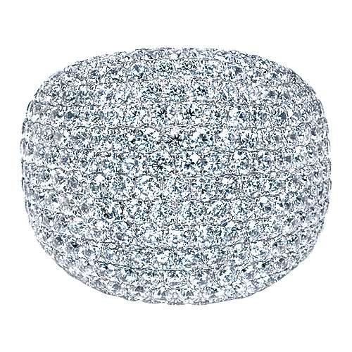 18K White Gold Wide Diamond Pavé Domed Ring
