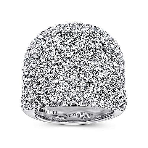 18K White Gold Wide Diamond Pavé Statement Ring