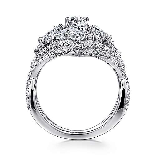 18K White Gold Wide Elongated Pavé Diamond Ring