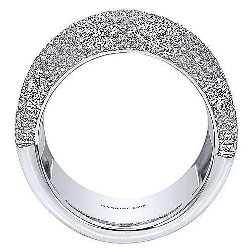 18K White Gold Wide Multi Row Diamond Ring