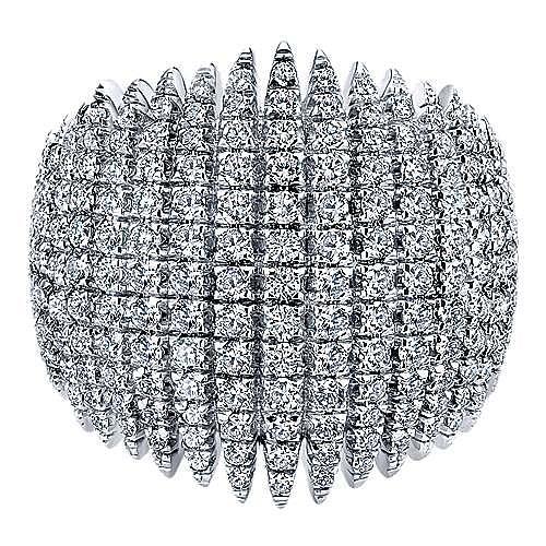 18K White Gold Wide Multi Spike Diamond Ring