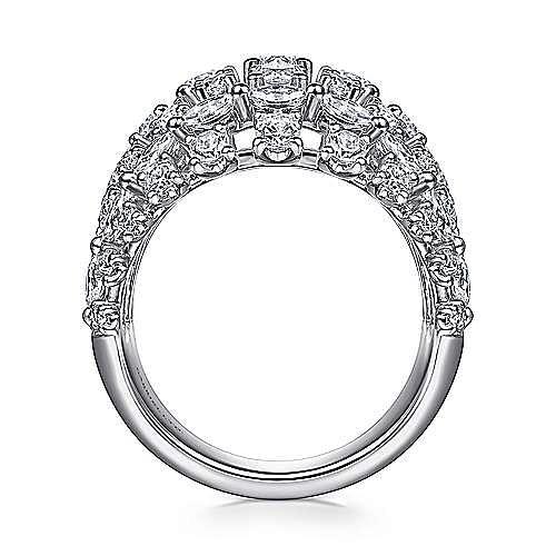 18K White Gold Wide Six Row Diamond Ring