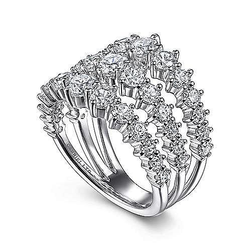 18K White Gold Wide Three Row Diamond Ring