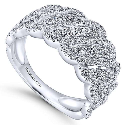 18K White Gold Woven Diamond Wide Band