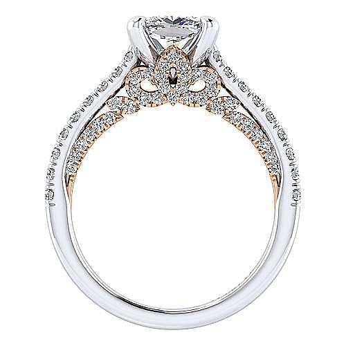 18K White-Rose Gold Cushion Cut Diamond Engagement Ring