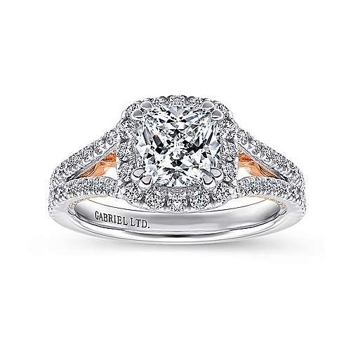 18K White-Rose Gold Cushion Halo Diamond Engagement Ring